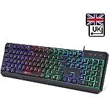 KLIM Chroma Gaming Keyboard - [ QWERTY UK LAYOUT ] - Wired Backlit LED Rainbow Lighting - Slim, Durable, Ergonomic, Quiet, Waterproof, Silent Keys - RGB Laptop PC Gamer PS4 Mac - Black