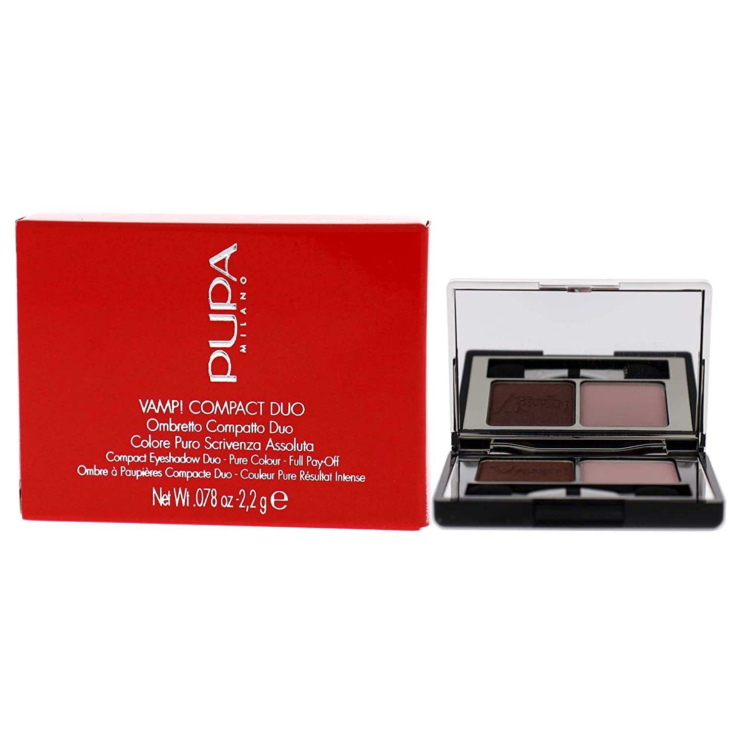 Pupa Milano Vamp! Compact Duo Eyeshadow – For Pure Color Payoff – Double Palette – High Concentration of Pigments and Comfortable Texture – 003 Soft Mauve – 0.078 Oz