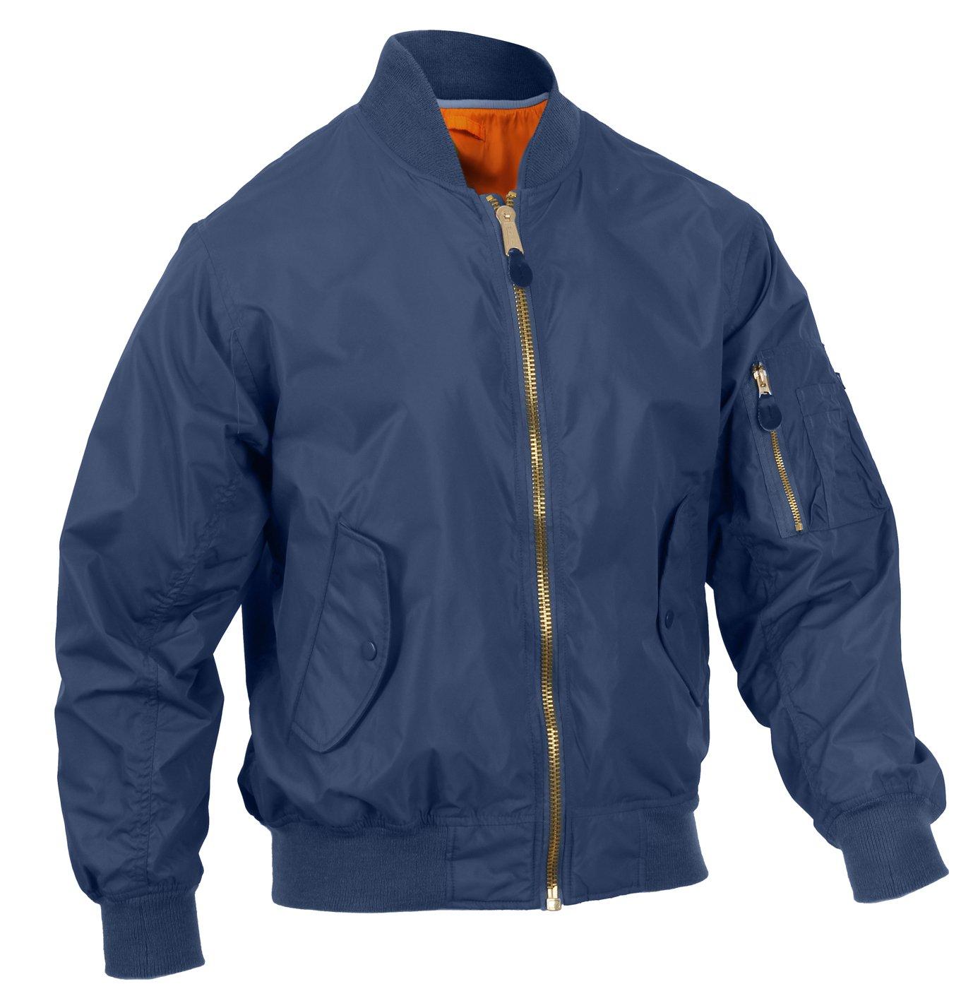 Rothco Lightweight MA-1 Flight Jacket, Navy Blue, L