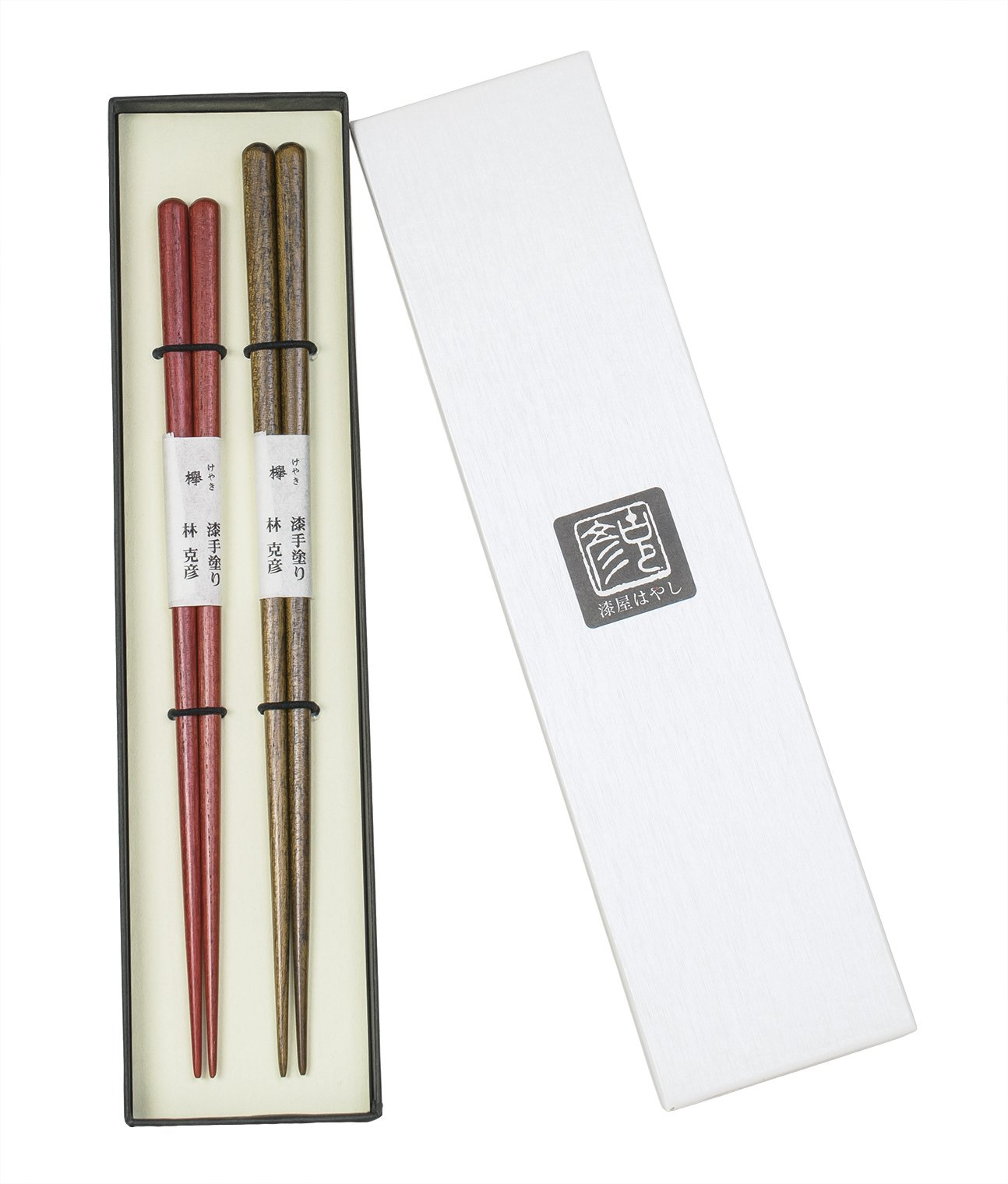 Laquered Natural Wooden Chopsticks 2 Pairs in Gift Box, Handcrafted in Japan (Keyaki)