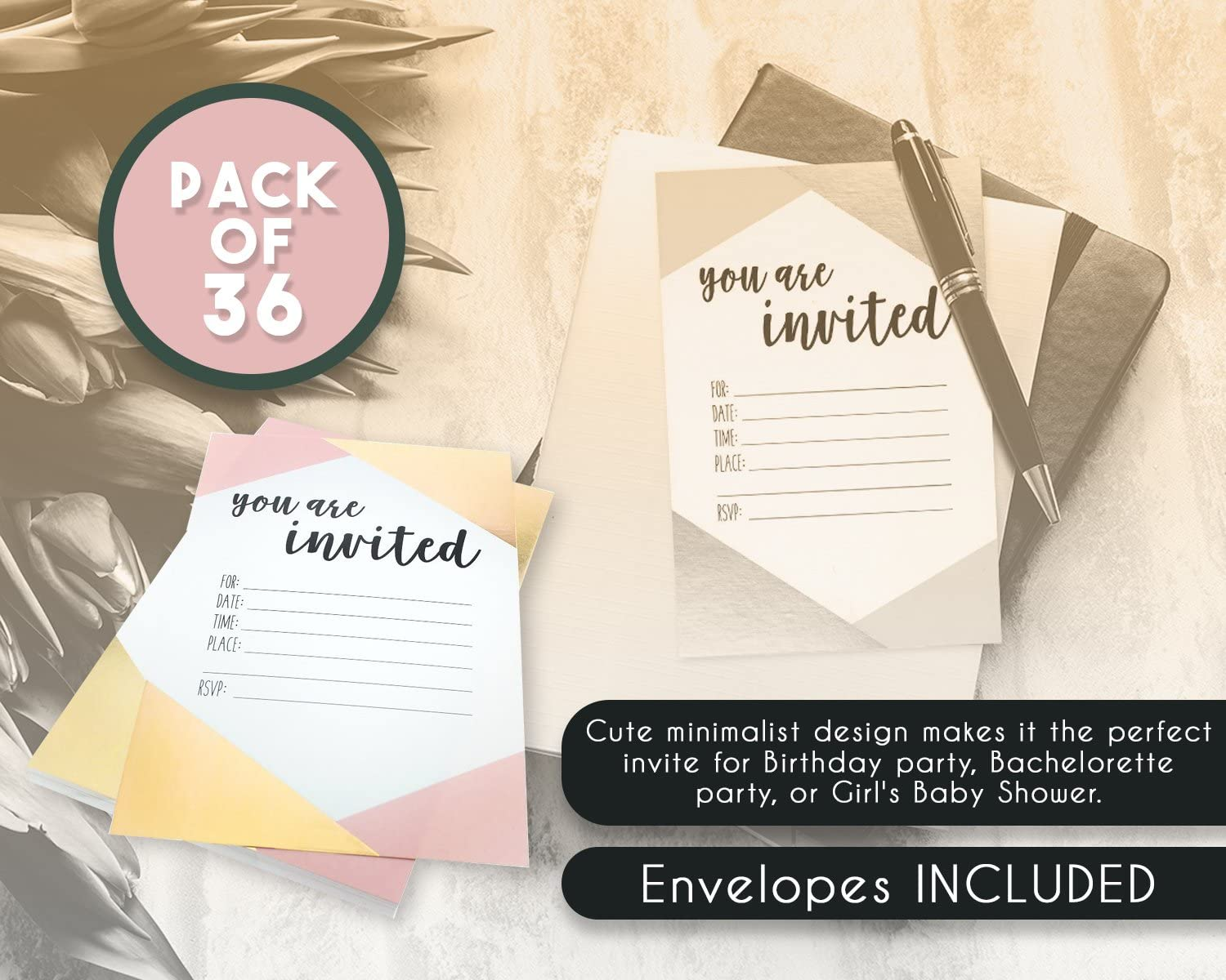 Amazon.com: 36 Pack Pink and Gold Foil