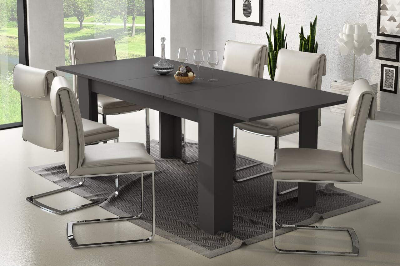 Tavolo da Pranzo Allungabile Fino a 220 cm Poznan Tavolino Consolle Salotto Salone Sala da Pranzo Arredo Arredamento 220 x 79.5 x 88 cm Colore Grigio Grafite