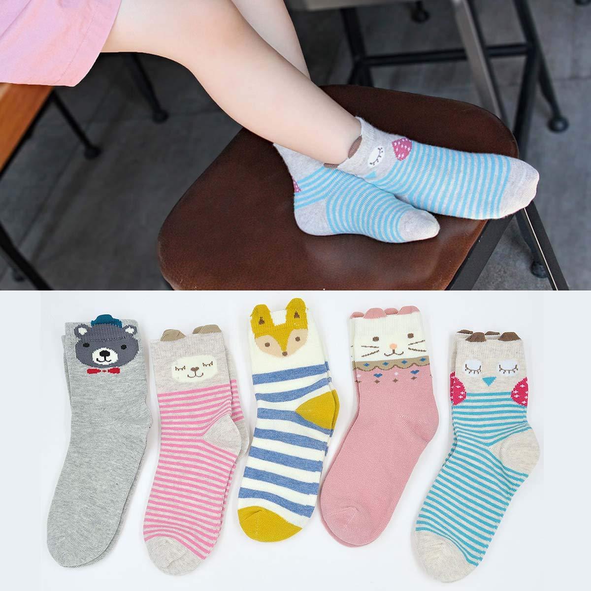 Kids Cotton Crew Socks Toddler Boys Girls Anti-slip Novelty Cute Cat Animal Socks 5 Pairs