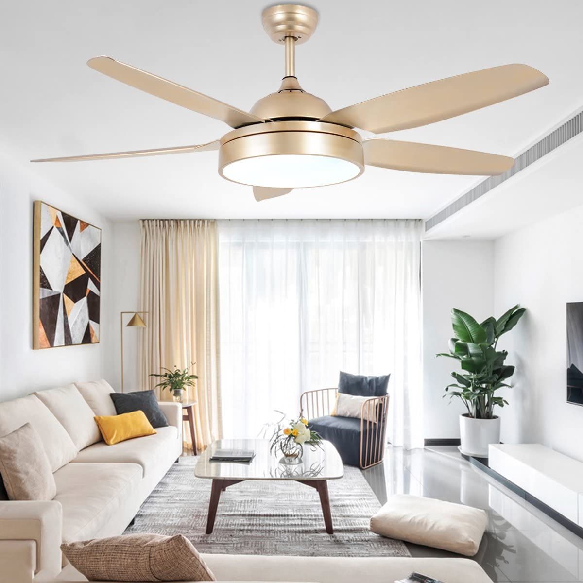 Tropicalfan Ceiling Fan Chandelier with LED Light and 5 Blades Champagne Remote Control for Home Decoration Living Room Bedroom 48 Inch