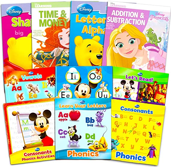 Amazon.com: Disney Princess Activity Workbooks - Set Of 4 - Preschool Pre-k  Kindergarten 1st Grade Workbooks. Learn; Phonics, Alphabet, Letters,  Writing, Reading, Spelling, Numbers, Phonics & Reading, Counting, Addition  & Subtraction. These
