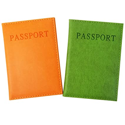 8d7a290bc7bb Honbay 2PCS Passport Cover Case Holder for Travel Animal Friendly Leather  (Orange and Green)