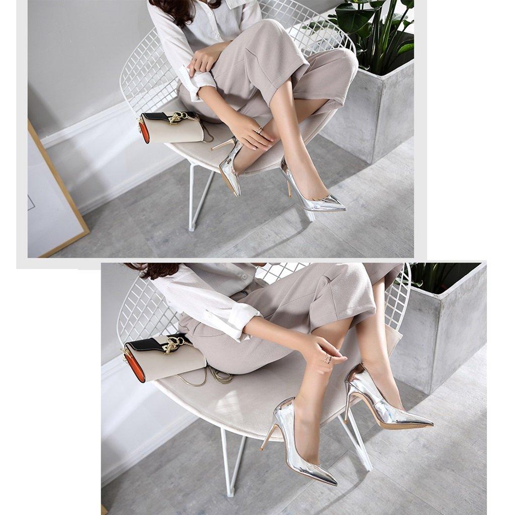 Neue Art des ultra-fein Sommers beschuht silbernes ultra-fein des mit den einzelnen Schuhen spitzen die hohen Absätze der Champagne-hohen Absätze, die flache Schuhe der flachen Mundfrauen wedding sind ( Farbe : Silver-8cm , Größe : 40 ) Silver-8cm 19a0bb