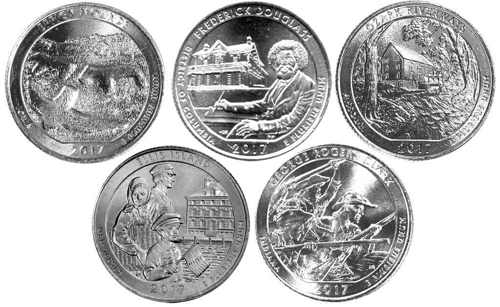 2017 D Complete Set of 5 National Park Quarters Uncirculated