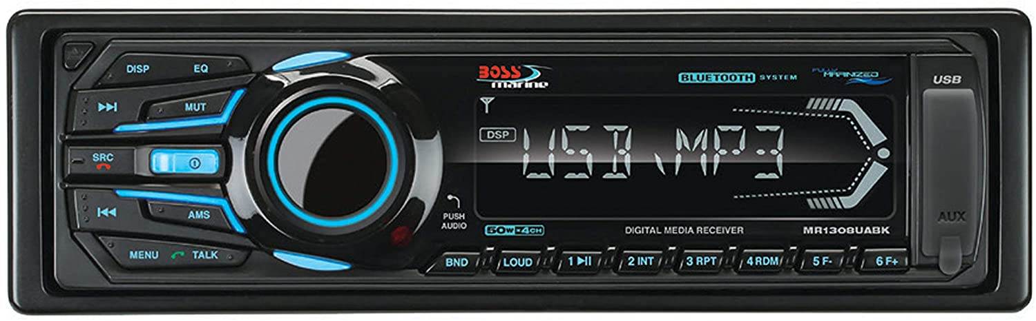 Wireless Remote BOSS Audio Systems MR1308UABK Single Din Bluetooth Detachable Front Panel MP3 WMA USB SD AM FM Weather-Proof Marine Stereo - no CD DVD