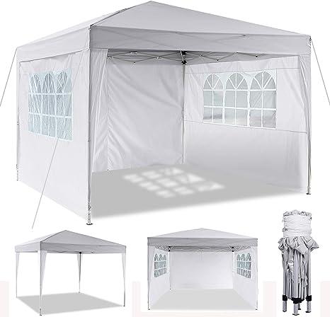 Cenador plegable 3 x 3 m / 3 x 6 m, resistente al agua, para jardín, para fiestas, festivales, gazebo plegable, protección solar., color Blanco, ...