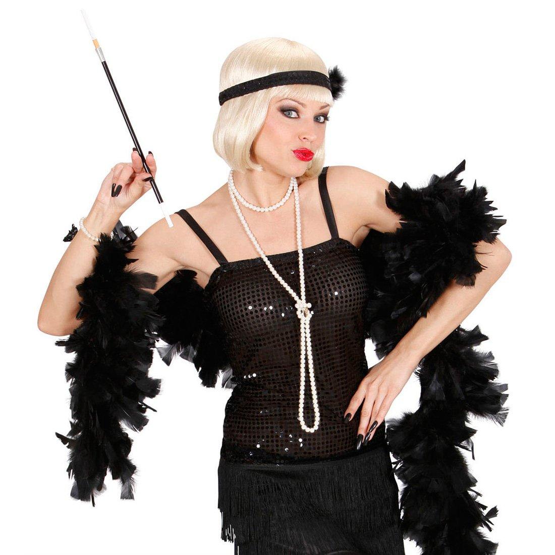 Boa de plumas Boa de plumas negro cortina Boa de plumas artículos de fiesta Charleston 20er accesorios Carnaval años NET TOYS