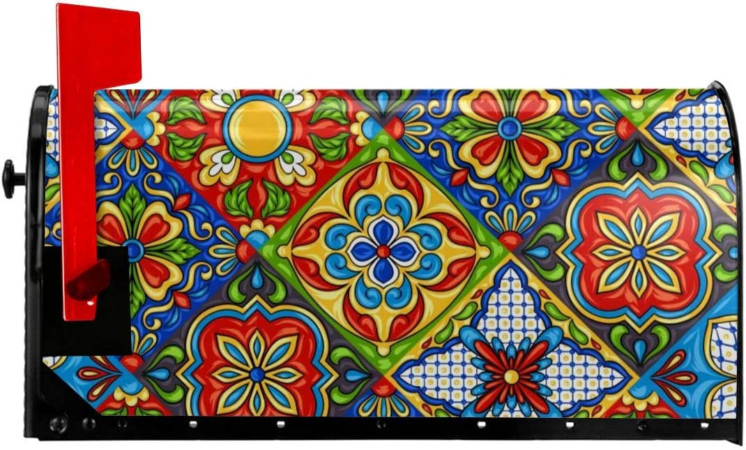 Bestpillow Mailbox Covers Magnetic Mexican Talavera Ceramic Tile Pattern. Ethnic Folk Ornament. Italian Pottery Letter Post Box Cover Wrap Decoration Welcome Home Garden Outdoor 21x18 inch