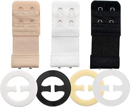 TRIXES Conjunto de 13 piezas Colección de Ajustadores de Sostenes: 3 Piezas Tirantes 10 piezas clips para Tirantes Corredoras: Extensor de 2 Ganchos Negro Blanco Transparente y Beige: