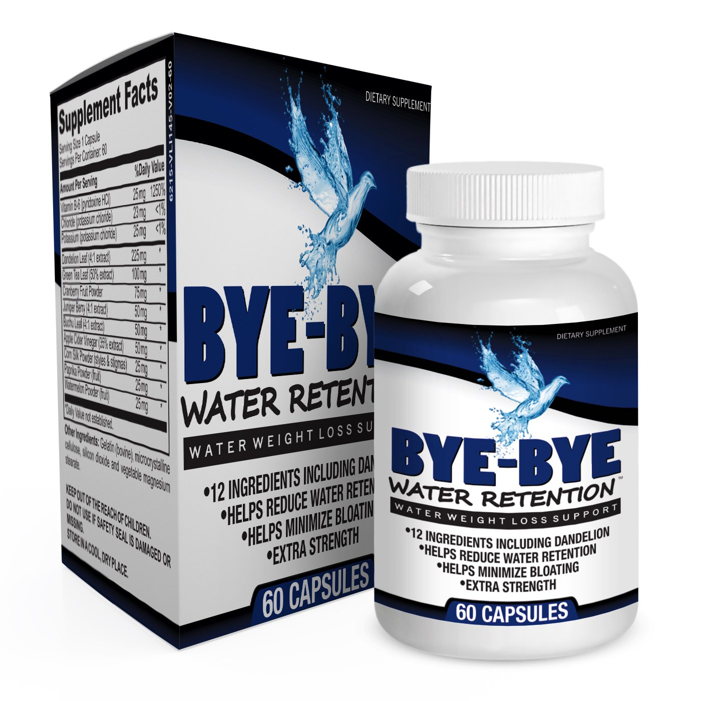 Natural Water Weight Loss Supplement Pills - Diuretic Supplements - Water Retention Relief - 60 Capsules by Elevate Recovery Supplements