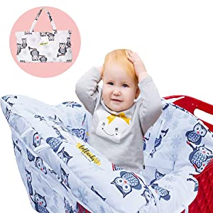 2 in 1 Deluxe Size Shopping Cart Cover and High Chair Cover | Premium-Quality Cushioned Seats with Pockets for Highchairs and Grocery Carts - Adjustable Baby and Toddler Harness - Unisex Owl Print