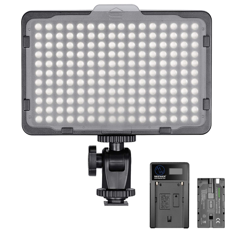 USB Chargeur et Etui de Transport pour Photographie Produit et Portrait avec Batterie Li-ION 2600mAh Neewer 176 LED Eclairage Kit 176 LED Panneau R/églable