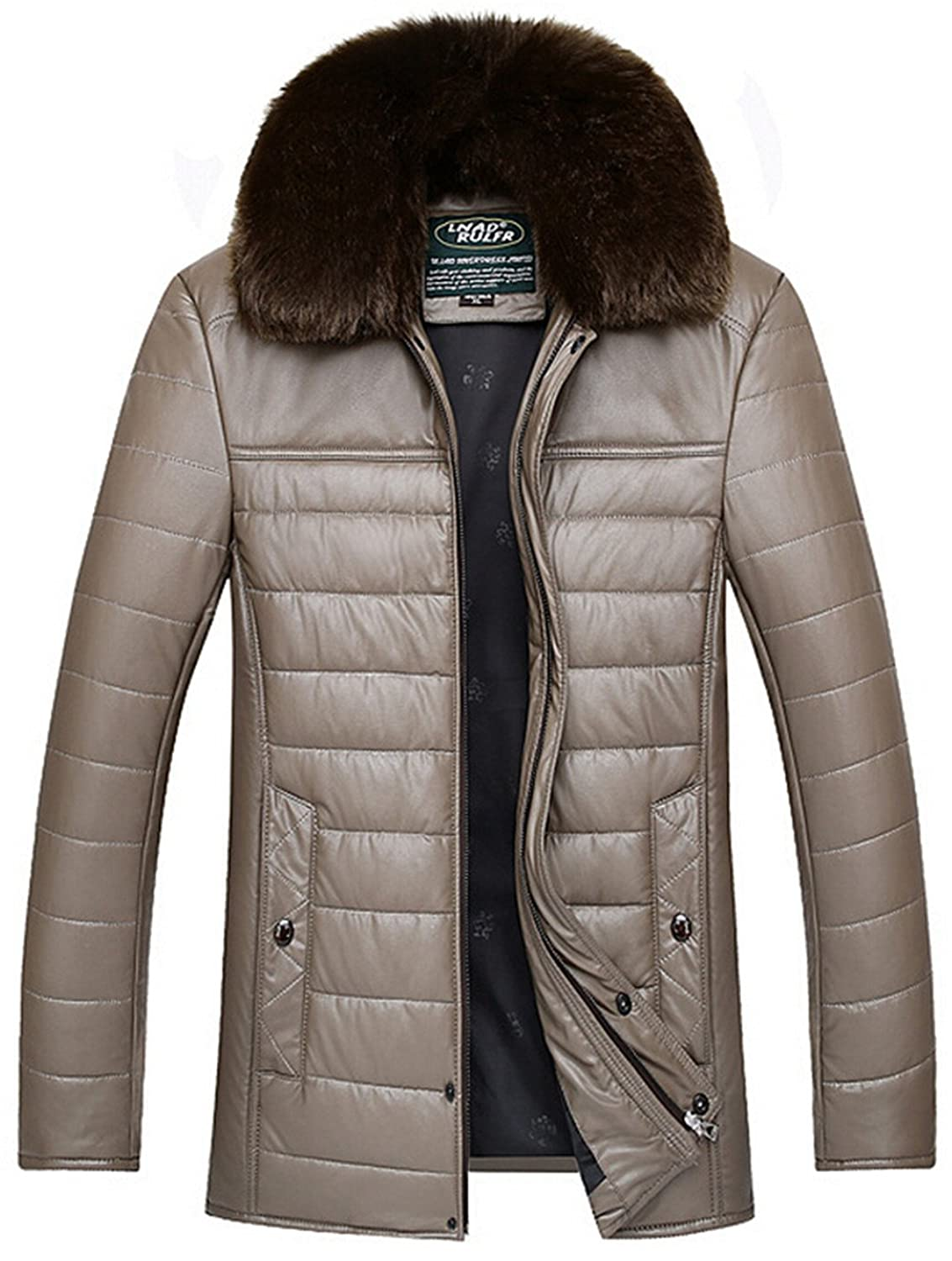 Men's Faux Fur Collar Leather Coat Jacket Thicken Down Padded