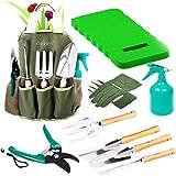 Scuddles Garden Tools Set - 8 Piece Heavy Duty Gardening Tools with Storage Organizer, Ergonomic Hand Digging Weeder, Rake, S