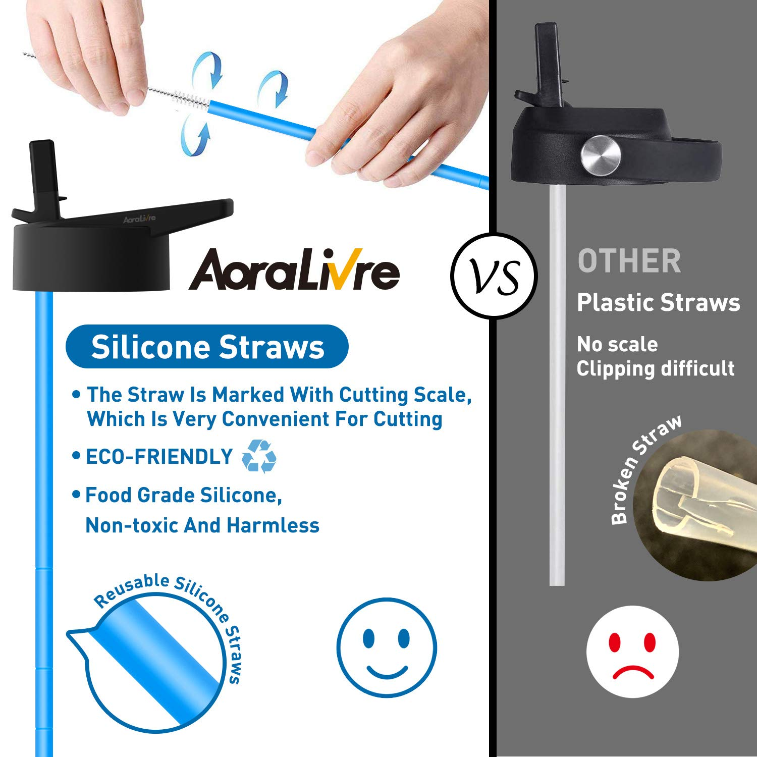 Aoralivre Hydroflask Straw Lid Wide Mouth, 2 Pack Wide Mouth Straw Lid with 4 Silicone Straws, 2 Straw Brushes, Silicone Nozzle, Perfect for Most Sports Water Bottle, Black