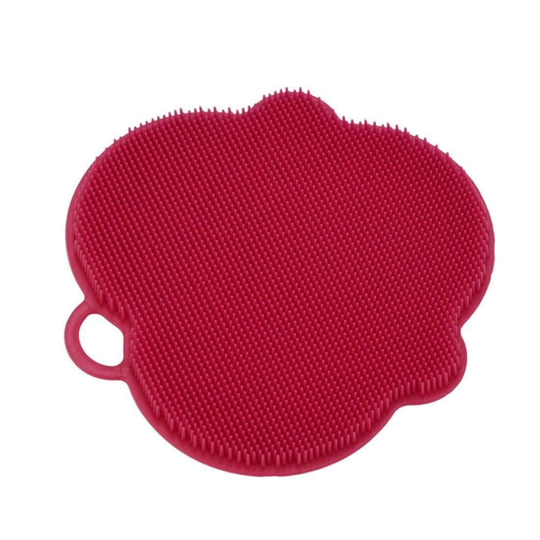 Digood Kitchen 1Pcs Antibacterial Silicone Non Stick Dishwashing Brush Sponge Scrubber Towel For Kitchen Wash Pot Pan Dish Bowl Fruit and Vegetable Cleaning Tool (Red)