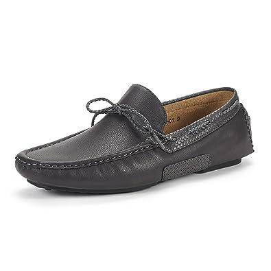 5c2af2e80e6 BRUNO MARC NEW YORK Men s Santoni-01 Grey Penny Loafers Moccasins Shoes  Size 6.5 M