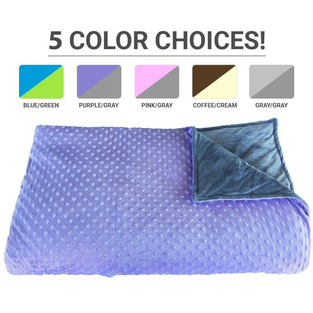 Premium Weighted Blanket, Perfect Size(XL) and Weight(12lb) For Adults and Children. Deluxe CALMFORTER Blanket Relieves Anxiety, Stress, Agitation, Insomnia. (Lavender Field Purple/Moonshadow Gray)