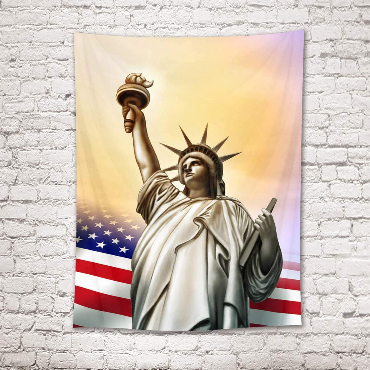 HVEST Statue of Liberty Tapestry American Flag Wall Art Independence Day Wall Hanging Tapestry American Culture Wall Decoration Freedom Picture for Bedroom Home Dorm Decor 70.9Wx92.5H inches