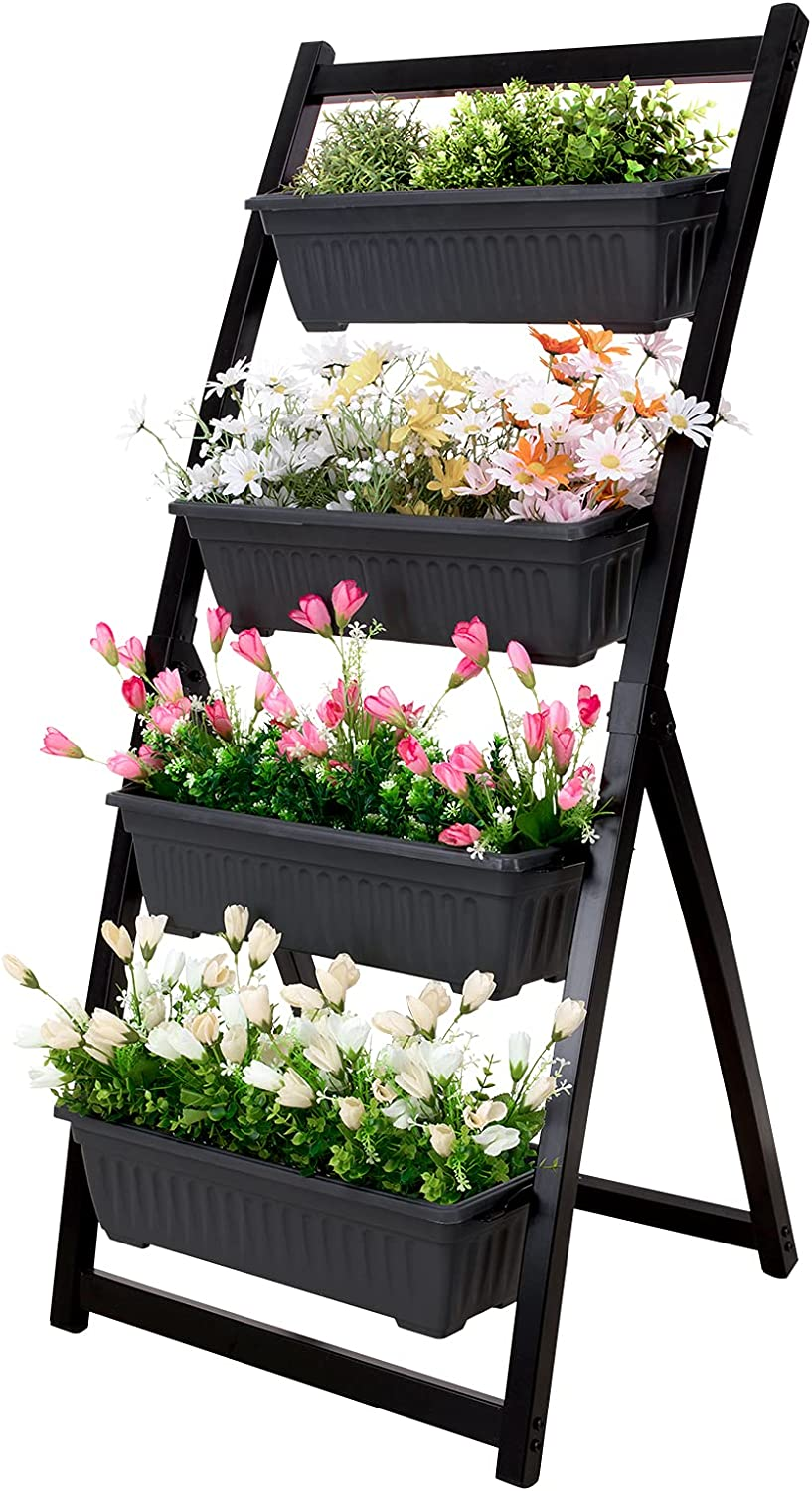 FXW Vertical Raised Garden Bed Metal, 4-feet/50-inches Four Tiered Planter Boxes with 4 Container Garden Boxes Kit for Flowers Vegetables Herbs Garden Patio Balcony Backyard Outdoor Indoor