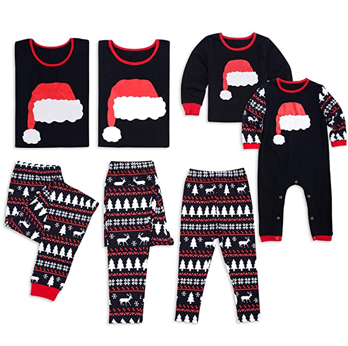 Family Matching Christmas Pajamas Christmas Hat Long Sleeve Tops Reindeer Print Pants Sleepwear Set Parent-