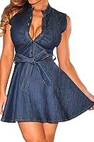 Dear-lover Women's Vintage Denim Casual Skater Dress with Belt