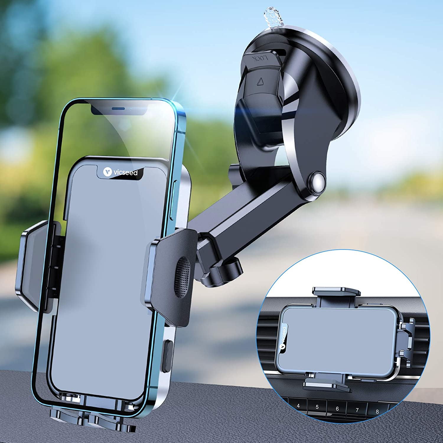 VICSEED Car Phone Holder Mount [Super Powerful Suction Cup] Hands Free Cell Phone Holder for Cars Rotatable Universal Dashboard Windshield Air Vent Vehicle Phone Mounts Compatible with All Phones