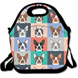 DASENCO Boston Terriers Pop Art 100% Polyester Zipper Portable Lunch Picnic Handbag Bag Waterproof Insulated Food Container School Office Travel Outdoor Work Lunch Bag Tote