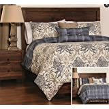 Bedecor 3 Pieces Reversible Duvet Covers and Pillow Shams Bedding Set, Soft Microfiber, Genoa and Dungaree Prints (KING)
