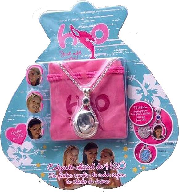 H2O Just Add - Collar con medallón de agua con cierre de broche y diamantes de imitación: Amazon.es: Joyería