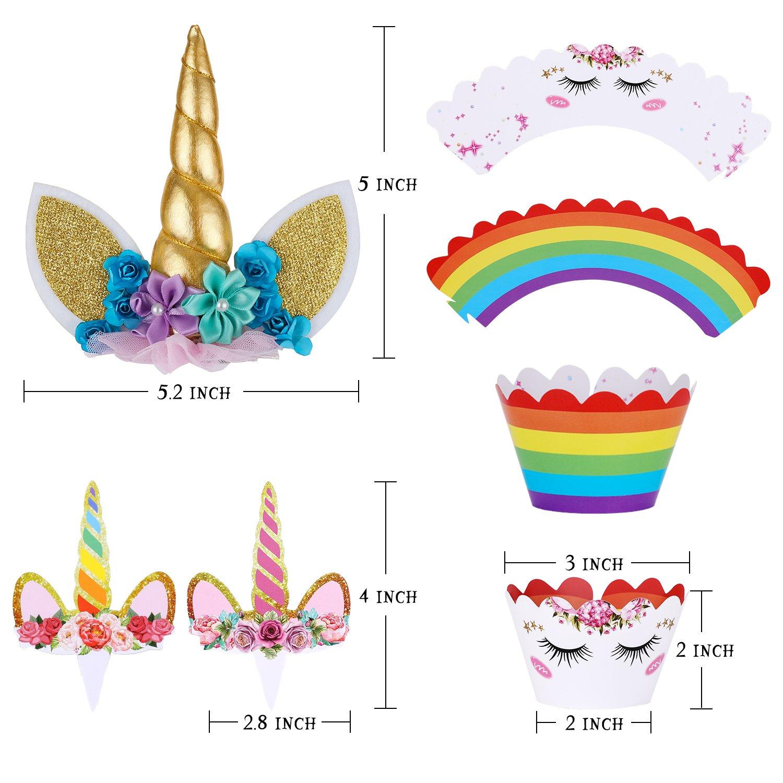 Unicorn Cake Topper with Eyelashes and Unicorn Cupcake Toppers & Wrappers - Unicorn Party Decoration Kit for Birthday, Baby Shower and Wedding by Hiware (Image #3)