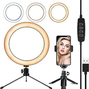 vividesire 26cm LED Ring Fill Light 10-inch 5-in-1 Brightness Adjustable Ring Light Desktop Floor Dual-use Mirror Self-Timer Set for Makeup//Studio//Live Broadcast//Self-Timer Lighting Kit feasible