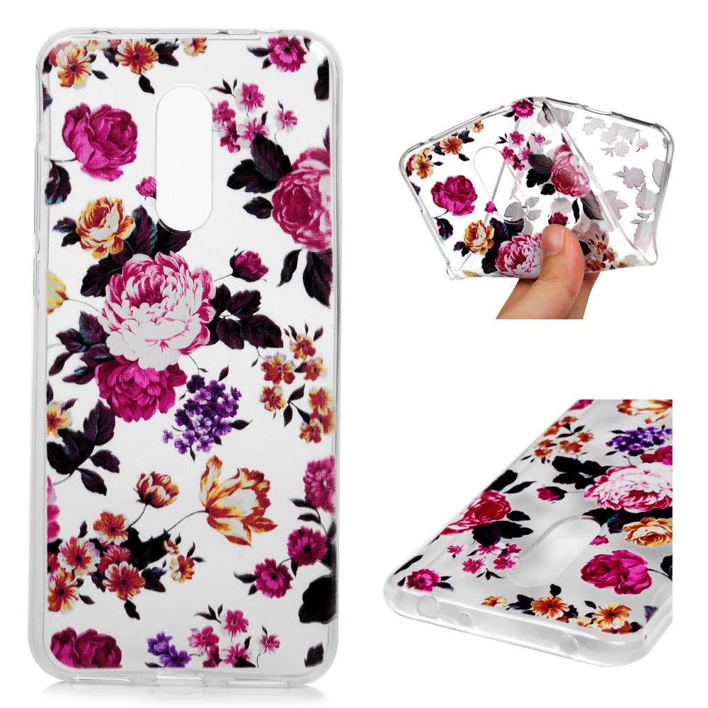 Fleur De Totem Pourpre Coque Xiaomi Redmi 5 Plus LaVibe /Étui Gel Silicone TPU Transparant Protecteur Embosser Housse Anti-Rayures Pare-Chocs Bumper Souple Ultra Slim Flexible Soft Case Cover