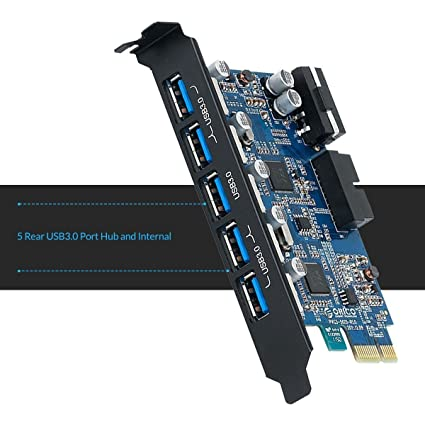 ORICO PCIe - Adaptador de Tarjeta USB 3.0 (PCI-Express a 5 Puertos USB 3.0, Incluye 1 Conector de Doble Puerto USB 3.0 DE 19 Pines para PC de ...