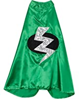 Kids Green Superhero Lightning Bolt Cape