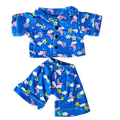 "Teddy Mountain Sunny Days Blue Pj's Teddy Bear Clothes Outfit Fits Most 14"" - 18"" Build a Bear and Make Your Own Stuffed Animals: Toys & Games"