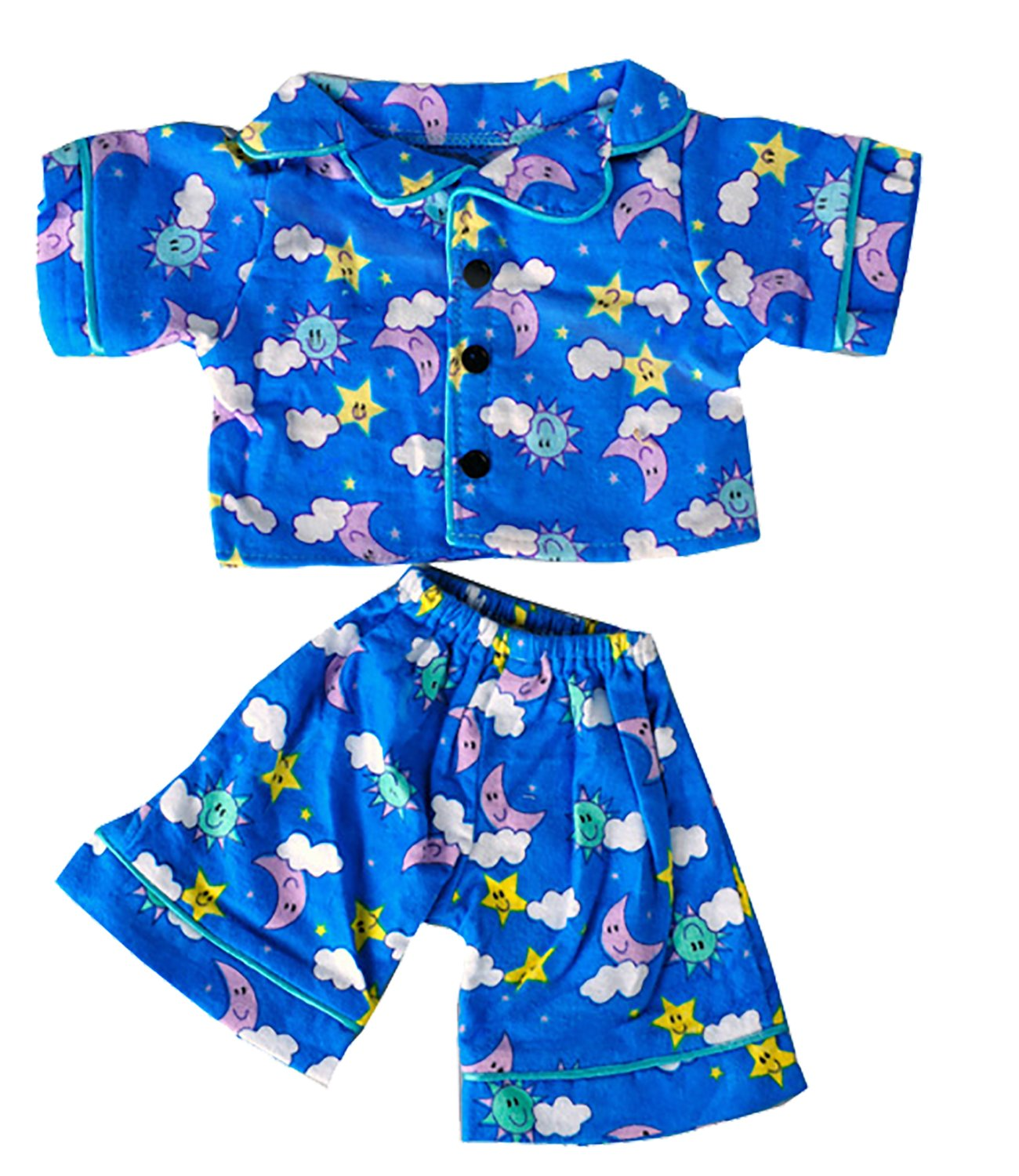 "Teddy Mountain Sunny Days Blue Pj's Teddy Bear Clothes Outfit Fits Most 14"" - 18"" Build a Bear and Make Your Own Stuffed Animals"