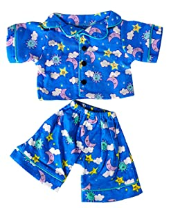 """Teddy Mountain Sunny Days Blue Pj's Teddy Bear Clothes Outfit Fits Most 14"""" - 18"""" Build a Bear and Make Your Own Stuffed Animals"""