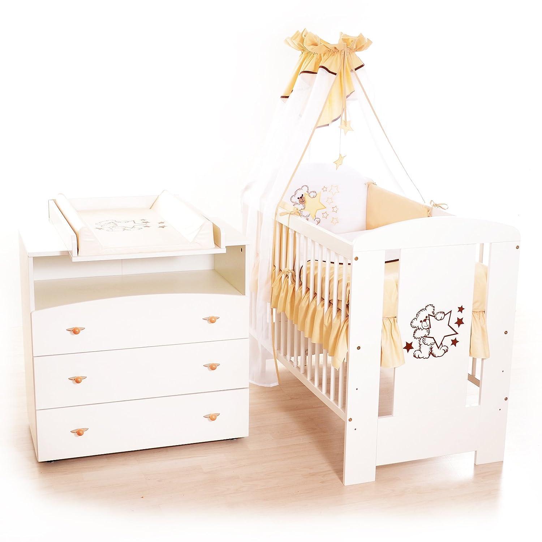 Kinderbett 120x60 weiss Baby Zimmer Bettwäsche Komplett Set 9 teilig Bär Grün