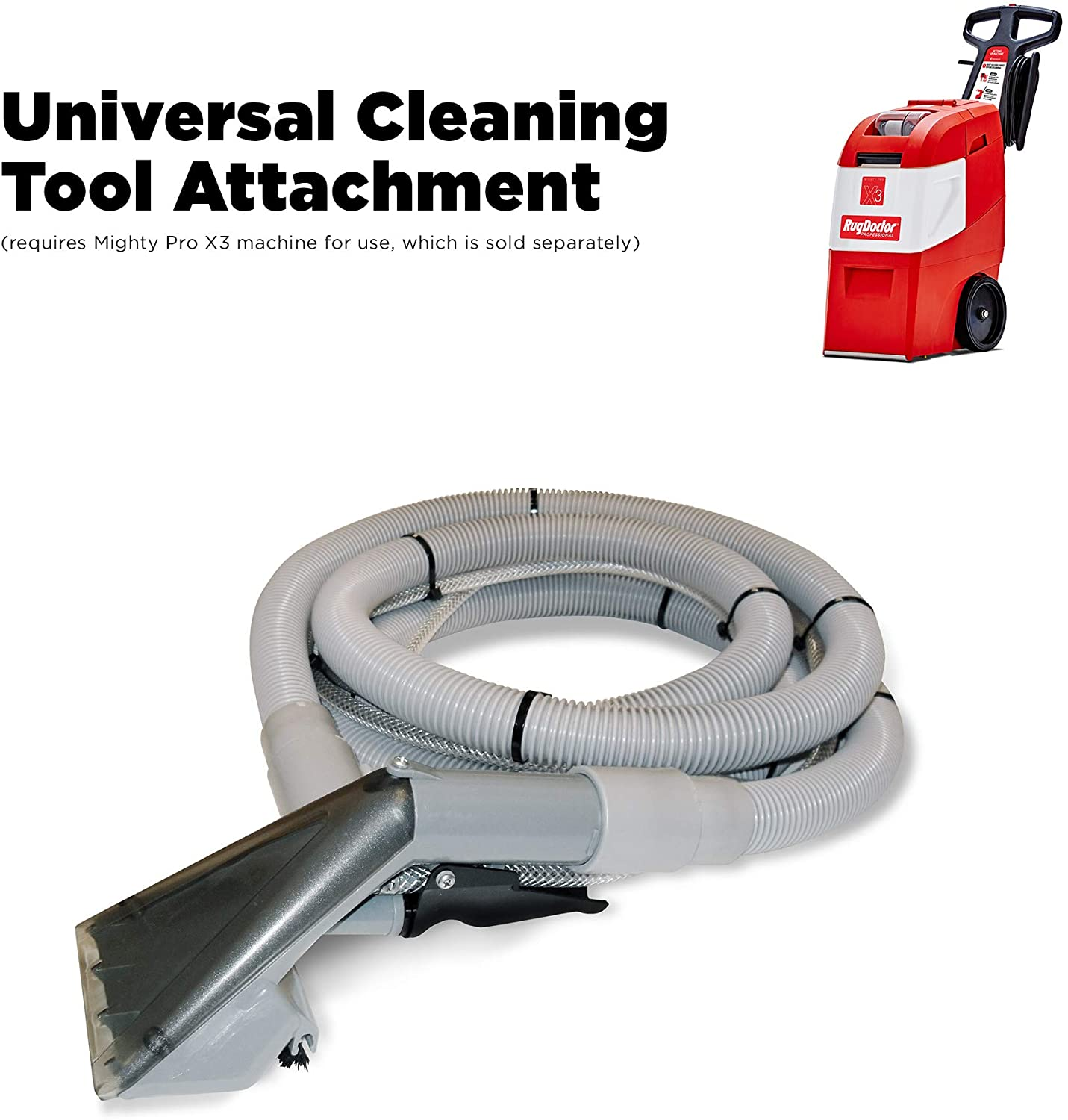 Rug Doctor Universal Hand Tool with 12-ft Hose; for Use with Mighty Pro, Mighty Pro X3, and Wide Track Machines; Deep Cleans Dirt from Hard to Reach Places in The Home, Office and Car