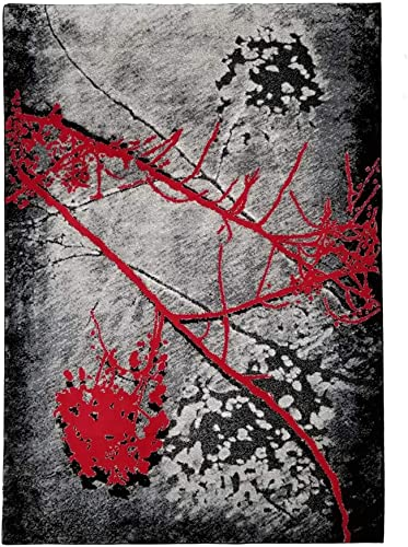 Jersey Collection Decorative Area Rug Designer s Choice Extremely Durable Stain Resistant Smooty Cozy Pet Friendly, Impressed Rich Color 3 x5 , JC2032_BLC_Gry