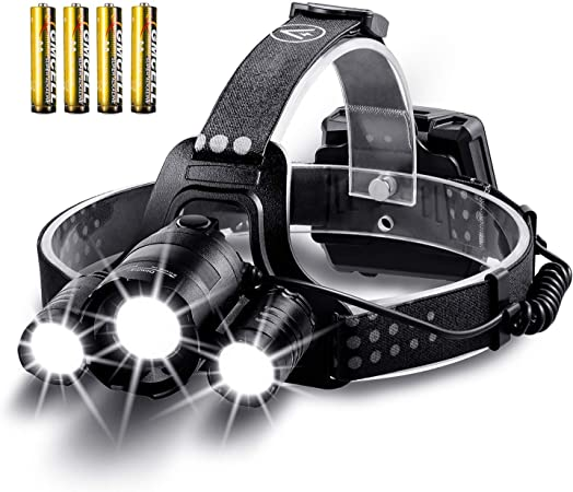 LED headtorch Headlamp waterproof,outdoor sport running fishing,black+AA battery