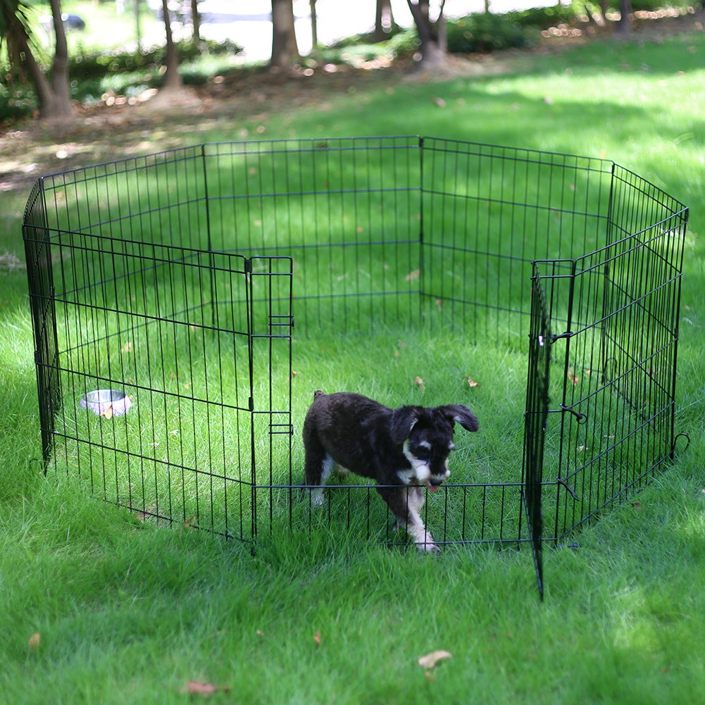 PEEKABOO Pet Playpen Dog Fence Foldable Exercise Pen Yard for Cats Rabbits Puppy Indoor Outdoor - 24'' Black by PEEKABOO (Image #6)