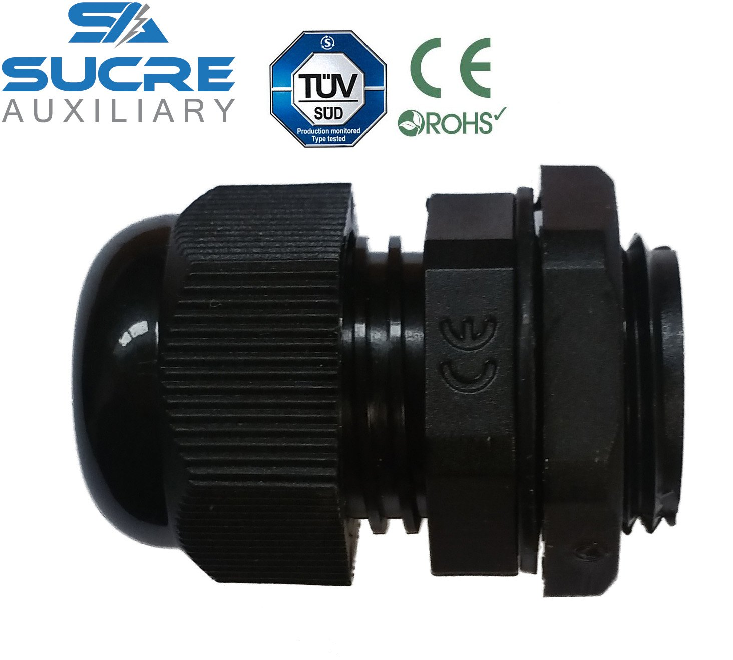 Sucre Auxiliary /® Cable Glands M8, Black, 1 Waterproof IP68 Compression