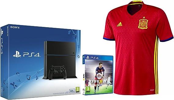 PlayStation 4 (PS4) - Consola 500GB + FIFA 16 + 1ª Equipación Selección Española talla L: Amazon.es: Videojuegos
