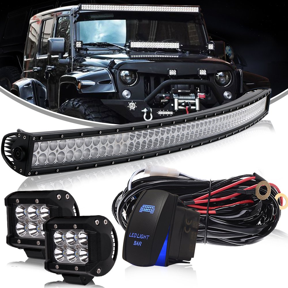 For Ford F150 Upper 54 Inch Curved Led Light Bar Combo Beam 2x F 150 Wiring Harness Clips Pods Wire Kit